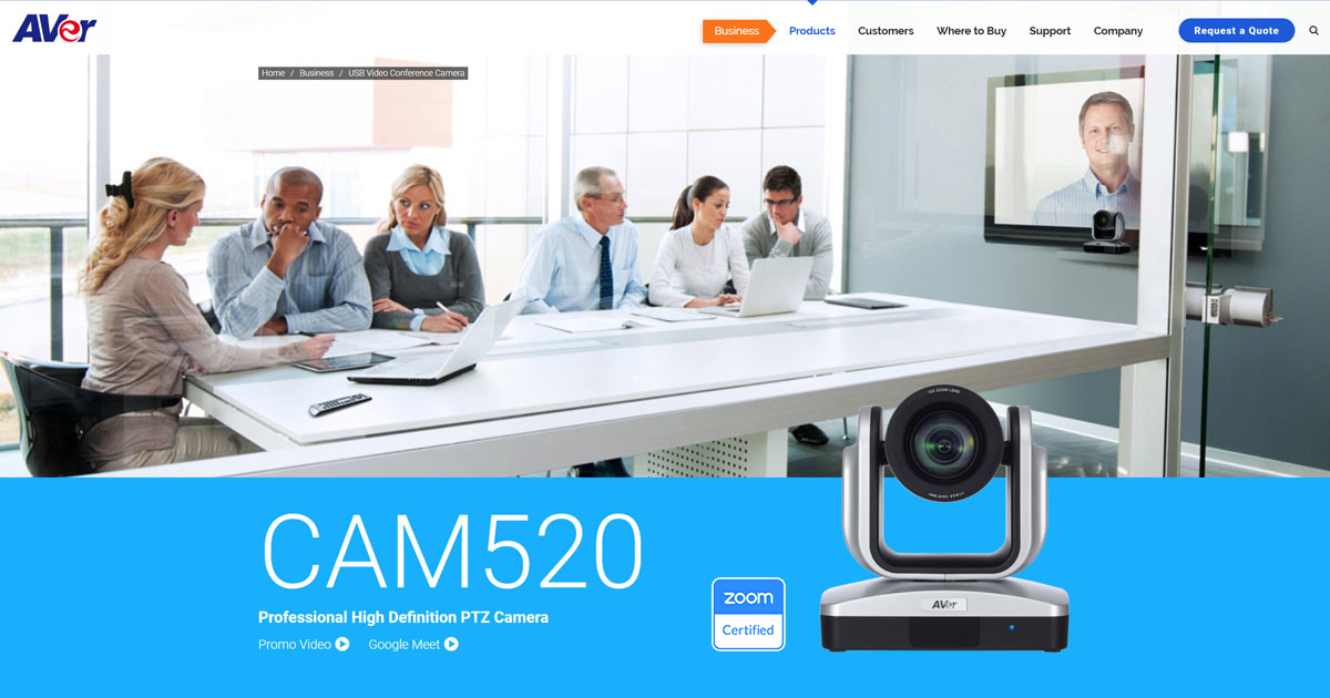 AVer CAM520 Professional Class USB PTZ Camera for All Meeting Rooms