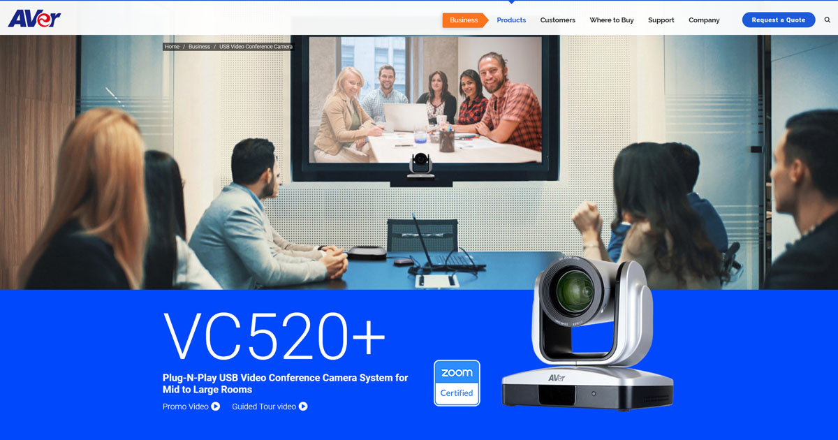 AVer VC520+ Plug-N-Play USB Video Conference Camera System For